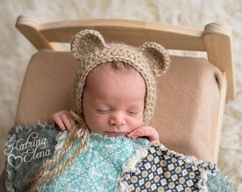 Newborn Bear Bonnet/ Baby Bear Bonnet/ Crochet Bear Bonnet/ Brown Bear Bonnet/ Newborn Photo Prop/ Baby Boy Hat/ Baby Girl Hat