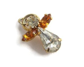 Vintage Goldtone Navette Teardrop Rhinestone Angel Charm Pendant
