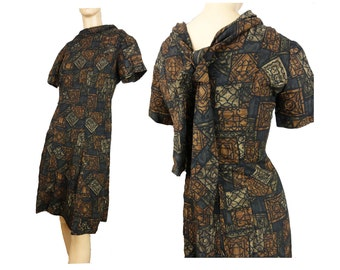 Vintage 60s Day Dress A Line Brown Floral Print Cotton Short Sleeves With Tie in Back OOAK