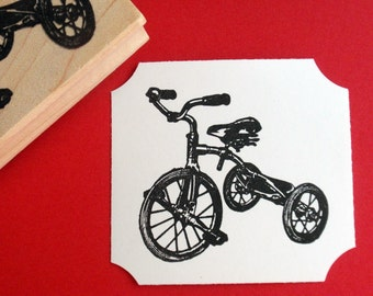 Tricycle Bicycle Rubber Stamp // Bike Rubber Stamp  - Handmade by BlossomStamps