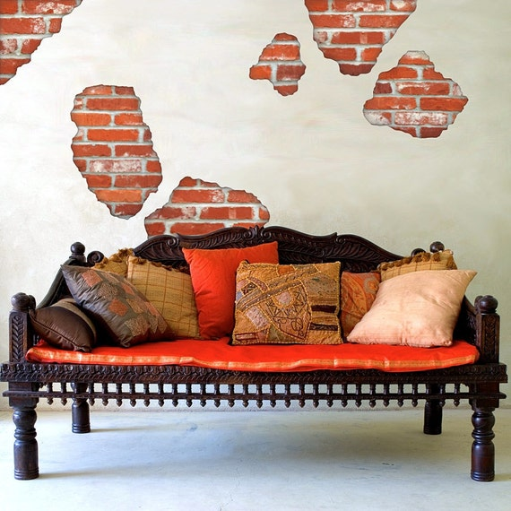 Wall Decals Faux Brick Breakaway by WallDressedUp