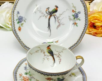 "Theodore Haviland Limoges ""Paradise"" teacup, saucer and dessert plate trio."
