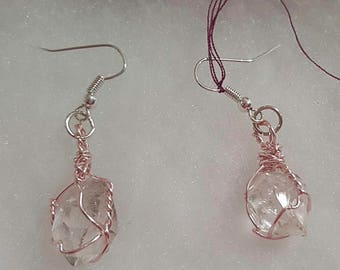 Herkimer Diamond Earrings wire wrapped in pink