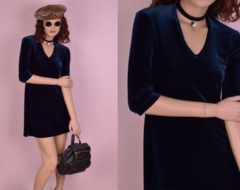 90s Deadstock Blue Velvet Mini Dress/ Medium/ 1990s