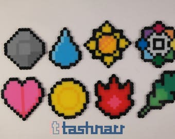 SHINY Kanto Pokémon gym badges beadsprites