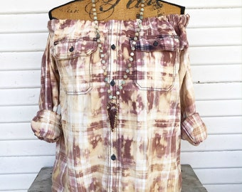 SIZE MEDIUM - Off Shoulder Distressed Flannel - Oxy Flannel - Shoulder Flannel - Distressed Flannel - Bleached Flannel #11