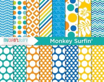 Papier numérique - singe Surfin ', papier de scrapbooking, tutoriel, utilisation commerciale, JPEG, PDF