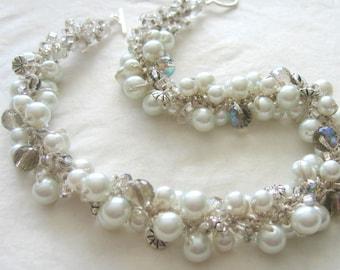 Wedding Jewelry, Crisp White Pearl, Aurora Borealis Bridal Necklace, COTTON PUFFS Hand  Knit Cluster Twist, Unique Artisan  Style Original
