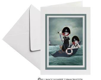 Greeting Card | Sisters At Sea Greeting Card | Blank Card | Art Greeting Card | Set Sail