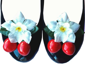 Rockabilly 50's Floral Cherry Shoe Clips