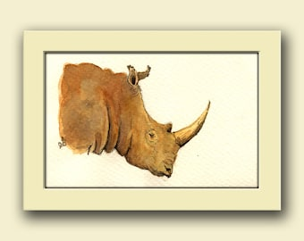 White Rhino- African Rhinoceros watercolor animal decor-Safari nursery - Rhino wall art - Original watercolor painting- Juan Bosco