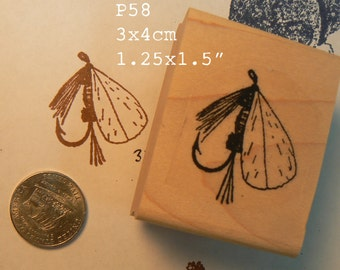 P58 Fly fishing lure rubber stamp