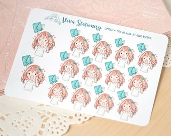 Kawaii Girl Happy Mail Stickers Version 2 ~Vera~ For your Life Planner, Diary, Journal, Scrapbook...