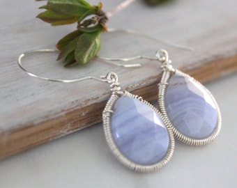 Blue Lace Agate Dangle Earrings - Silver Earrings -Drop Earrings - Gemstone Jewelry -Gift For Her- Graduation Gift