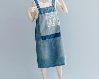 summer Cotton denim vest skirt Casual Summer Holiday Dress with pockets Dress