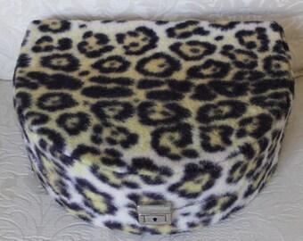 1960's Rare Vintage Faux Leopard Fur Jewelry Box Case