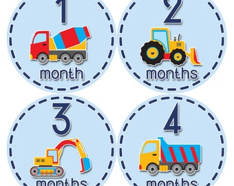 Baby Boy Monthly Baby Stickers Baby Month Stickers Trucks Stickers Monthly Photo Stickers Monthly Milestone Stickers 810