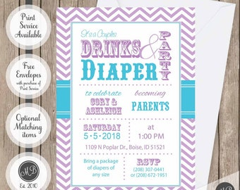 Couples baby shower invitation, Teal and Purple Drinks and Diaper Shower invitation, Co-ed baby shower invitation, printable invite