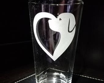 Dog Heart Hand Etched Pint Glass