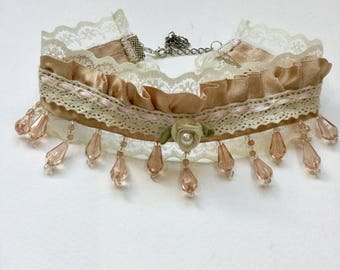 Champagne Cream lace beaded ornate choker necklace, Valentines gift.