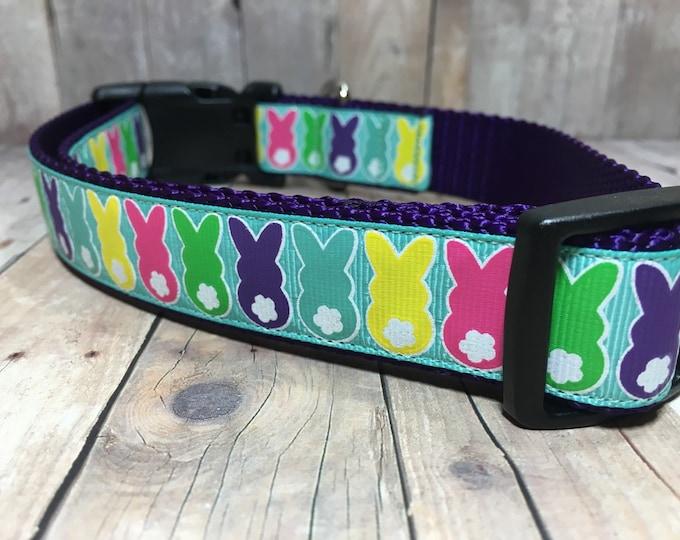 "The Madison | Designer 1"" Width Dog Collar | CupcakePups Collars | Easter | Bunny Tails - Medium/Large Dog Collar"