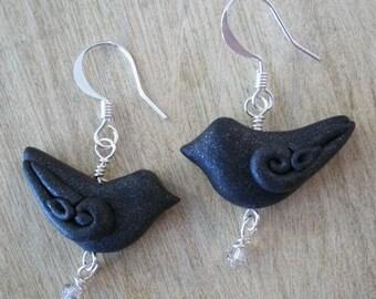 Black bird earrings Raven Crow art jewelry gothic