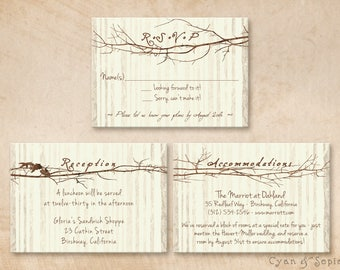 Printable Wedding Enclosure Card - 3.5x5 - Branch Heart - R.S.V.P. Reception and/or Accommodations - Rustic Woodland Tree - Brown Ivory