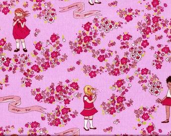 Tissu coton Michael Miller, fond rose imprimé de fillettes et fleurettes rouges et roses. Tissu patchwork pour enfants, et avec enfants.