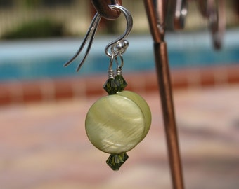 Pale Green Mother of Pearl Earrings on Sterling Silver Hooks with Olivine Green Swarovski Crystals