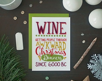 Funny Christmas Card Set - Funny Holiday Card Set - Wine Christmas Card Set - Funny Wine Card Set - Boxed Set of 8