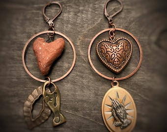 Hearts Prayer Hands Fish Love Hoop Earrings vintage upcycled eco green handmade assemblage antiqued copper mixed metals Christian Jesus God