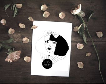 Melanie Martinez, Cry Baby, pity party, feminist art, girl drawing, drawing tumblr, martinez print, martinez art, feminist, aesthetic tear