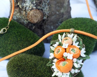 Orange Ranunculus bouquet pendant necklace