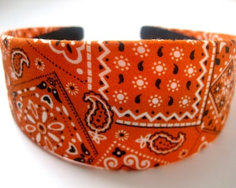 Orange Bandana Headband 2 Inch