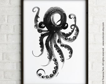 Octopus illustration art print Bathroom decor Black & white art Poster Octopus ink painting Nautical artwork Home gallery Bathroom print