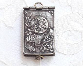 LOURDES - Antique French Tiny Book Locket