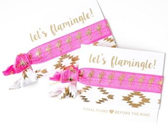 SALE Flamingo Hair Tie Bachelorette Gift   Bohemian Aztec Summer Hair Tie Set, Hot Pink Flamingo Gift Hair Ties, Bachelorette Party Gifts