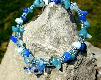 Memory Wire Bracelet, Memory Wire Bracelet Beaded, Memory Wire Wrap Bracelet, Memory Wire Beaded Bracelet, Memory Wire Bracelet Blue