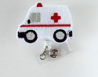 Ambulance - Retractable Badge Reel - Emergency Services Badge Holder -EMT Badge Holder - EMT Badge Clip - Felt Badge - Medical Badge