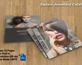 Jewellery Catalog Template   Product Display Brochure   Photoshop and Elements Template   Instant Download   PB-035