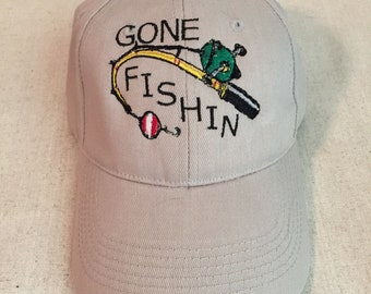 Custom Personalized Embroidered Gone Fishin Youth Cap