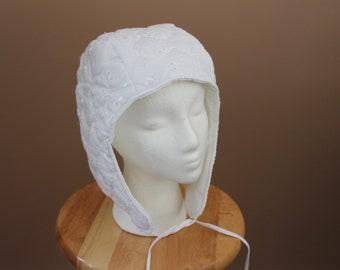 White Cotton Biggins Arming Cap, Renaissance  Costume, Tudor Medieval Hat, Peasant Costume Bonnet