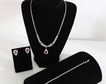 Vintage  Mid-Century  Crystal and Purple Rhinstone, 3 Piece-Necklace, Bracelet, Earrings Set