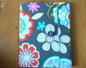Notebook - Tropical Gray Fabric Covered Composition Book Cover - with pen and composition book, fabric covered notebook