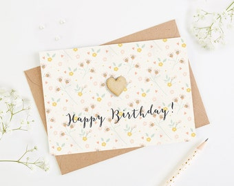 Happy Birthday Card Blush Pastel Floral