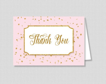 Pink and Gold Printable Thank You Card, Pink and Gold Glitter Confetti Baby Shower Thank You, INSTANT DOWNLOAD