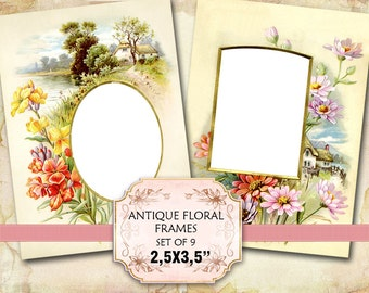 Vintage Florals Photo Album Frames 2.5 x 3.5 inch Scrapbooking Greeting Cards Decoupage Craft Tag (332) Buy 3 - get 1 free