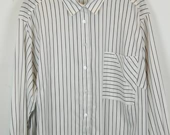 Vintage shirt, 90s clothing, shirt 90s, white and black, stripes, long sleeves, oversized