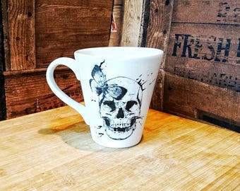 Skull and butterfly, Skulls mug, ceramic cup, hand painted mug, Butterfly mug, conical coffee mug, tea lover