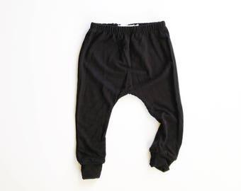 jet black harems / classic basic black pants / baby leggings / hipster kid / 0-3m to 5/6T
